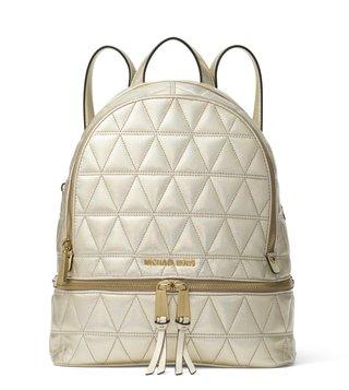 4f4ba26a7cb647 MICHAEL Michael Kors Pale Gold Rhea Zip Medium Leather Backpack ...