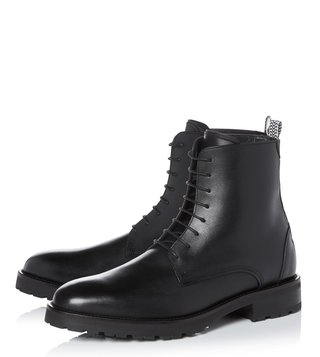 Kit Neale X Dune London Black Leather Weaver Biker Boot