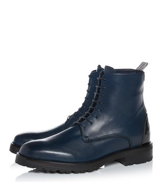 Kit Neale X Dune London Navy Leather Weaver Biker Boot