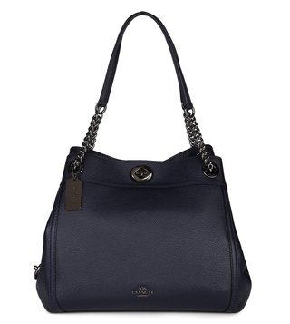 Coach Navy Polished Turnlock Edie Shoulder Bag