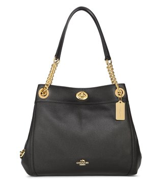 Coach Turnlock Edie Black Shoulder Bag