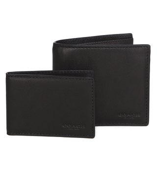 Coach Leather Black Wallet With Compact ID Window