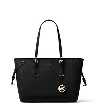 74a731f8812e MICHAEL Michael Kors Voyager Black Medium Leather Totes ...