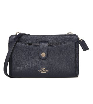Coach Pebble Pop Up Li Navy Messenger Bag