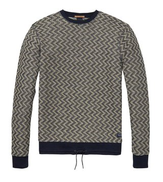 Scotch & Soda Grey & Navy Printed Sweater