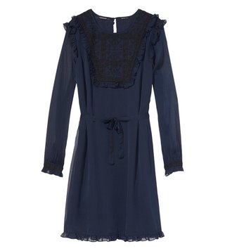 Scotch & Soda Night Embroidered Bib & Ruffle Details Dress