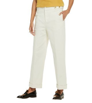 Scotch & Soda Off White Bootcut Fit Cropped Leg Twill Pants