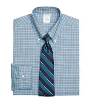 Brooks Brothers Green Oxford Ground Twin Checks Dress Shirt