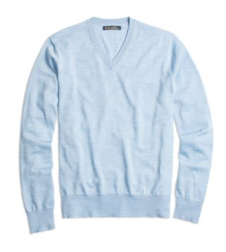 Brooks Brothers Light Blue BT Merino Wool V Neck Sweater