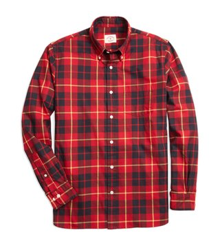 Brooks Brothers Red Fleece Red & Black Tartan Sport Shirt