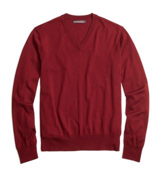 Brooks Brothers Burgundy BT Merino Wool V Neck Sweater