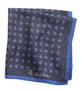 Brooks Brothers Navy Geo Rose Pocket Square
