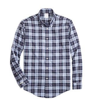 Brooks Brothers Blue Regent Fit Plaid Flannel Sport Shirt
