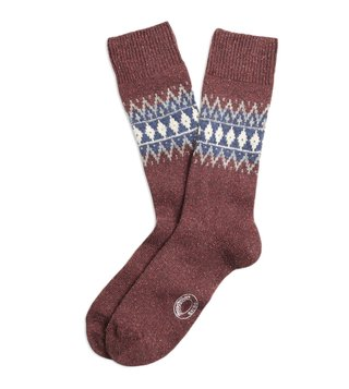 Brooks Brothers Red Fleece Burgundy Fair Isle Wool Socks