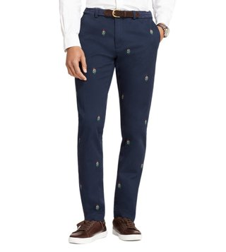 Brooks Brothers Red Fleece Navy Mistletoe Embroidered Chinos