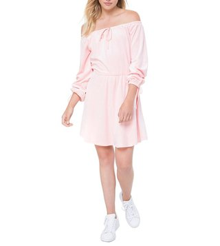 Juicy Couture Peach Off Shoulder Velour Dress