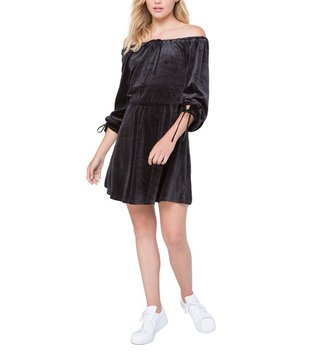 Juicy Couture Black Off Shoulder Velour Dress