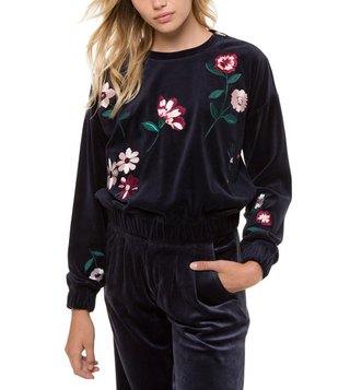 Juicy Couture Blue Velour Spellbound Embroidered Pullover