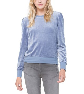 Juicy Couture Dusty Navy Velour Puff Sleeve Pullover