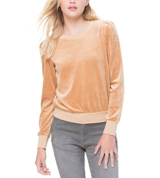 Juicy Couture Tan Velour Puff Sleeve Pullover