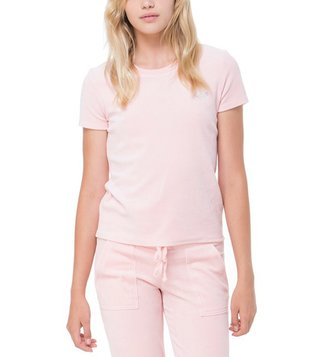 Juicy Couture Peach Velour Interwoven JC Crew Tee