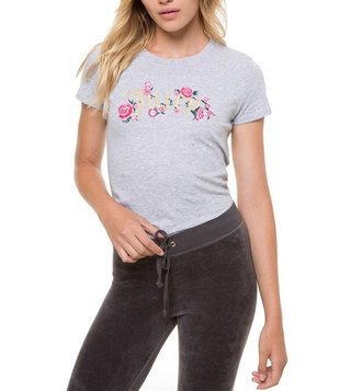 Juicy Couture Grey Floral Couture Classic Tee