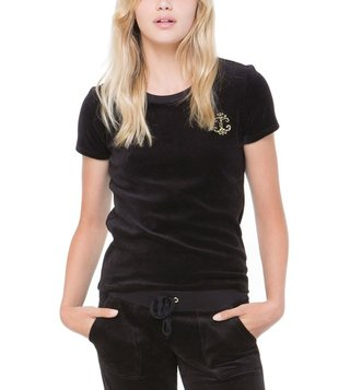 Juicy Couture Black Velour Interwoven JC Crew Tee