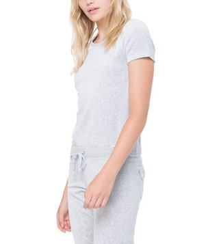 Juicy Couture Silver Velour Interwoven JC Crew Tee