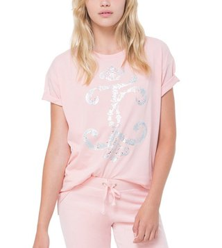 Juicy Couture Peach Interwoven JC High-Low Tee