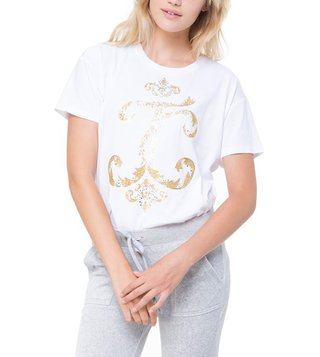 Juicy Couture White Interwoven JC High-Low Tee