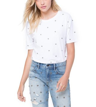 Juicy Couture White Dome Stud Embellished Tee