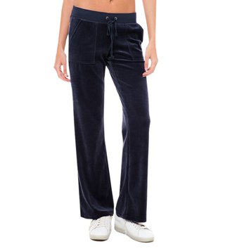 Juicy Couture Navy Velour Wreath Cameo Del Rey Pants