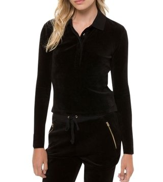 Juicy Couture Black Stretch Velour Long Sleeve Polo T-Shirt