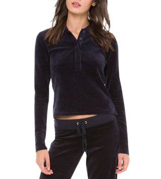 Juicy Couture Regal Stretch Velour Long Sleeve Polo T-Shirt
