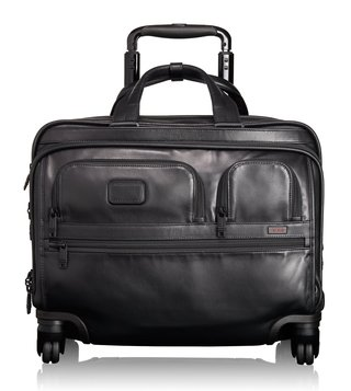 Tumi Black Alpha 2 Leather Deluxe Brief With Laptop Case