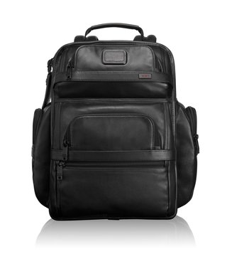 Tumi Black Alpha Leather Business Class Leather Brief Pack