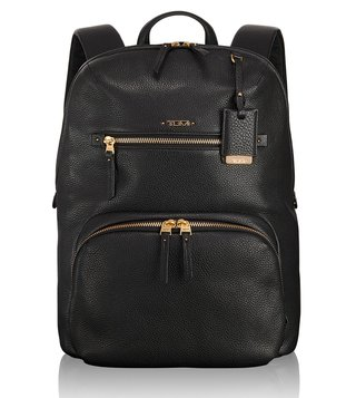 Tumi Black Voyageur Halle Leather Backpack