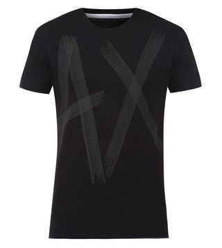 Armani Exchange Black Printed Crew Neck T-Shirts