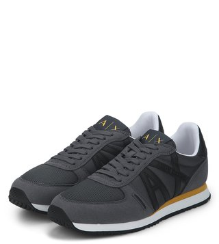 Armani Exchange Grey Turbolence Retro Logo Sneakers