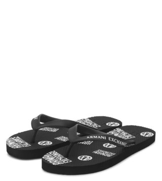 Armani Exchange Nero Allover Printed Flip Flops