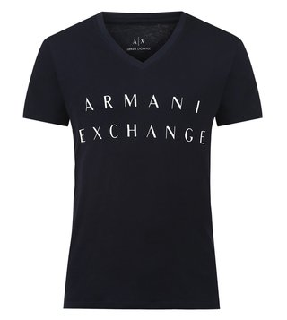 Armani Exchange Navy Logo Print V Neck T-Shirts