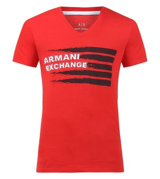 Armani Exchange Absolute Red Graphic Print V Neck T-Shirts