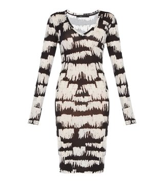 BCBG Maxazria Black Printed Knee Length Tori Dress