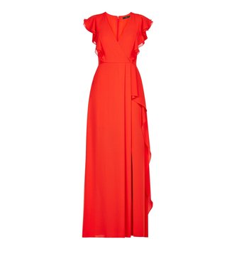 BCBG Maxazria Red Callie Woven Evening Dress
