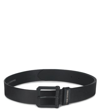 Armani Exchange Nero Classic Textured Buckle Waist Belt