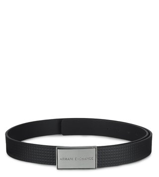 Armani Exchange Black Allover Textured Plaque Waist Belt