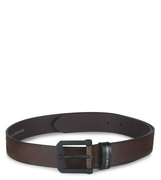 Armani Exchange Brown Classic Textured Buckle Waist Belt