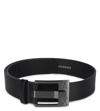 Armani Exchange Nero Perfect Cut Metal Logo Waist Belt