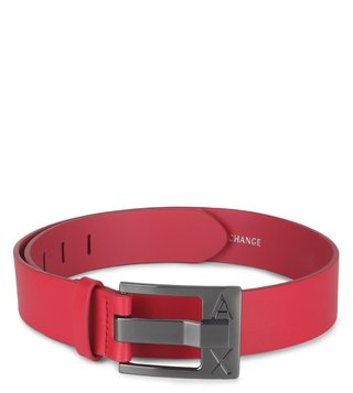 Armani Exchange Pink Perfect Cut Metal Logo Waist Belt
