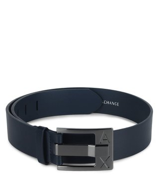 Armani Exchange Navy Perfect Cut Metal Logo Waist Belt